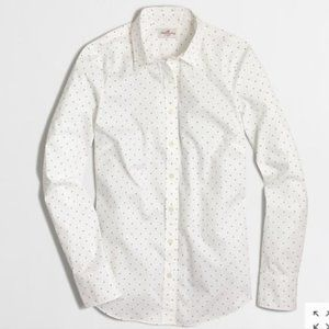 J.CREW Stretch Classic Button-Down Shirt Polka Dot